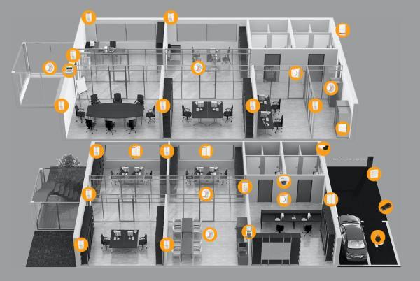 Installationsbeispiel der Jablotron 100 in Gebäuden